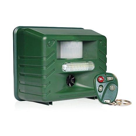 ASPECTEK Ahuyentador ultrasónico de plagas y Animales Yard Sentinel RC, con Detector de Movimiento, 4 mandos a Distancia, luz estroboscópica y Sonido ...