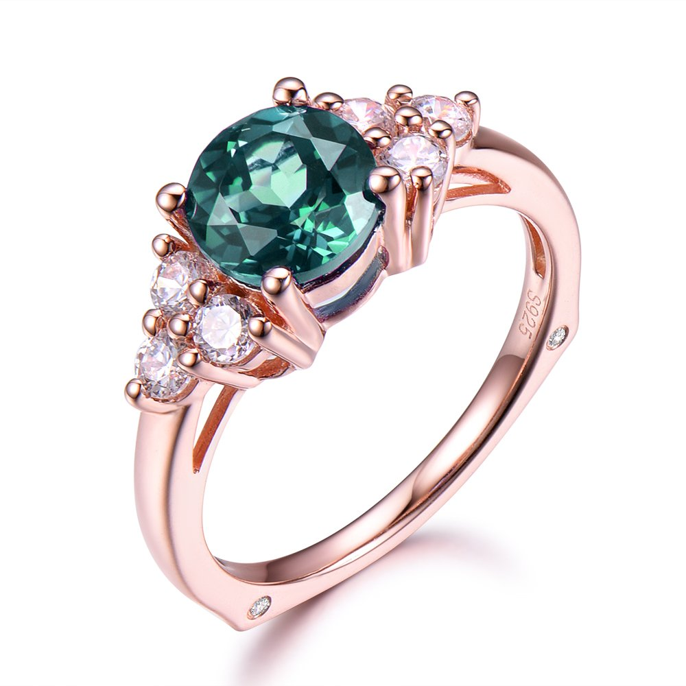 Alexandrite Engagement Ring 6mm Round Color Change 925 Sterling Silver Rose Gold Plated CZ Cubic Zirconia
