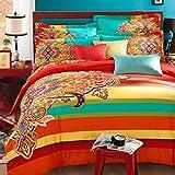 Hughapy® Bohemia Ethnic Style 4 Pieces Bedding Set Boho Duvet Cover Set Modren Flat Sheet Set ,Full Size