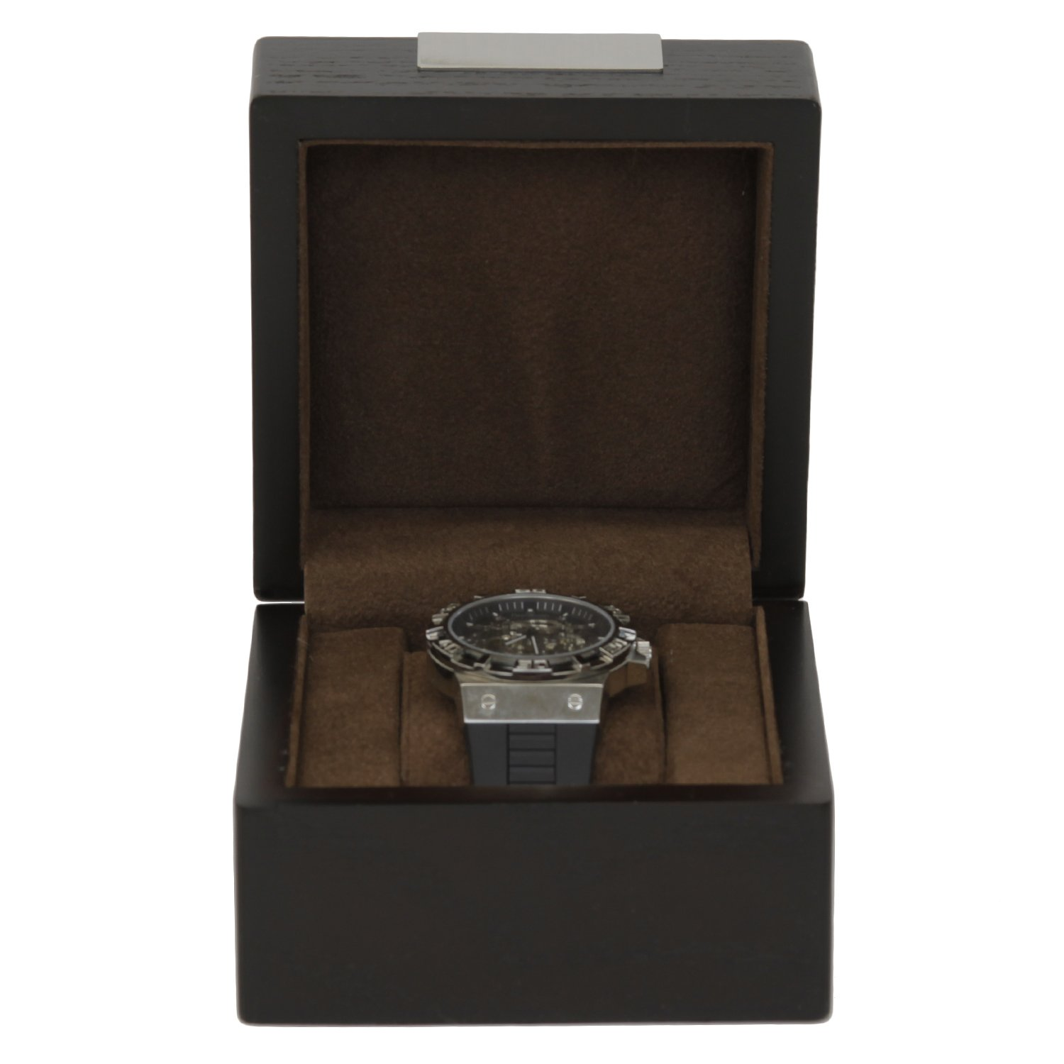 Single Watch Box 1 Extra Large Watch Espresso Brown Wood Finish Removable Cushion