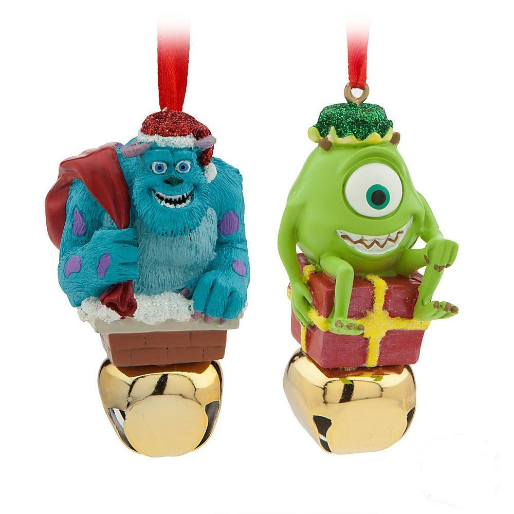 Sulley & Mike Wazowski Monsters Inc Jingle Bell Christmas Ornament Set Disney