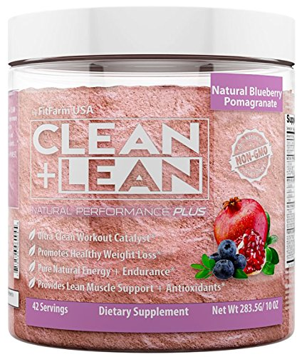 "Clean+Lean Natural Performance""Plus"" by FitFarm USA: Ultra Clean Workout Catalyst + Healthy Weight Loss Blend, Lean Muscle BCAA's, and Antioxidants 100% Non GMO 42 Svgs"