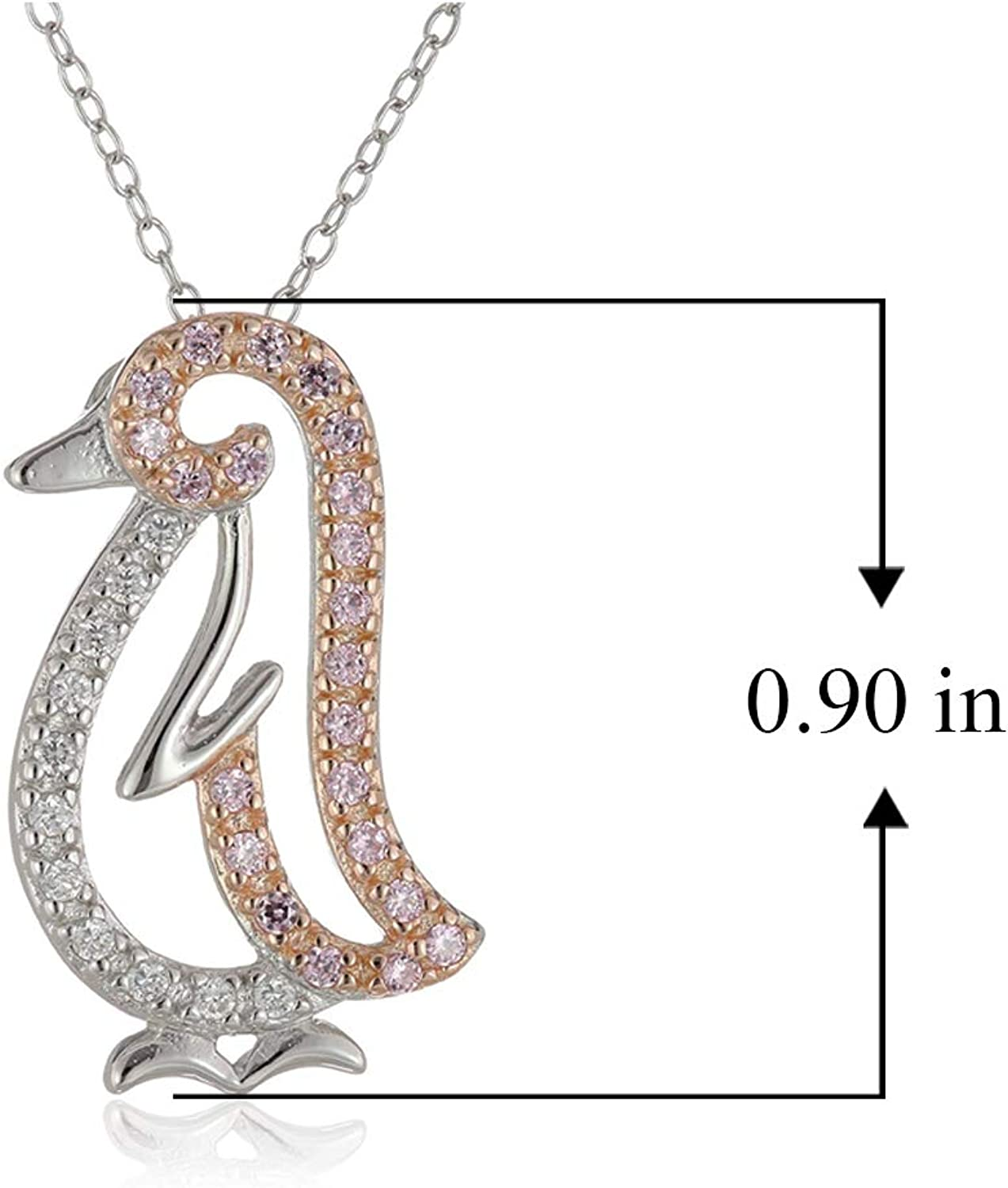 Sterling Silver Rhodium Pave Pear Shape 18 Fashion Necklace