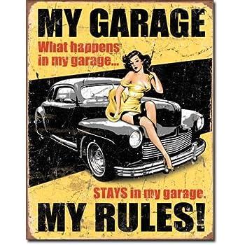 "Legends - My Garage Tin Sign 16"" X 12.5"" , 12x16"