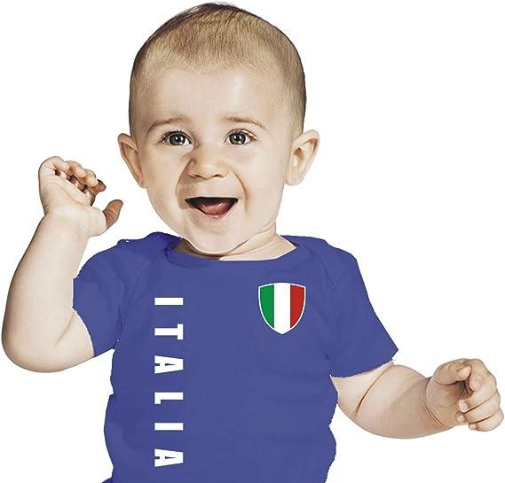 Italien Italia Baby Kinder T Shirt Trikot Look Gr 56 98 Blau
