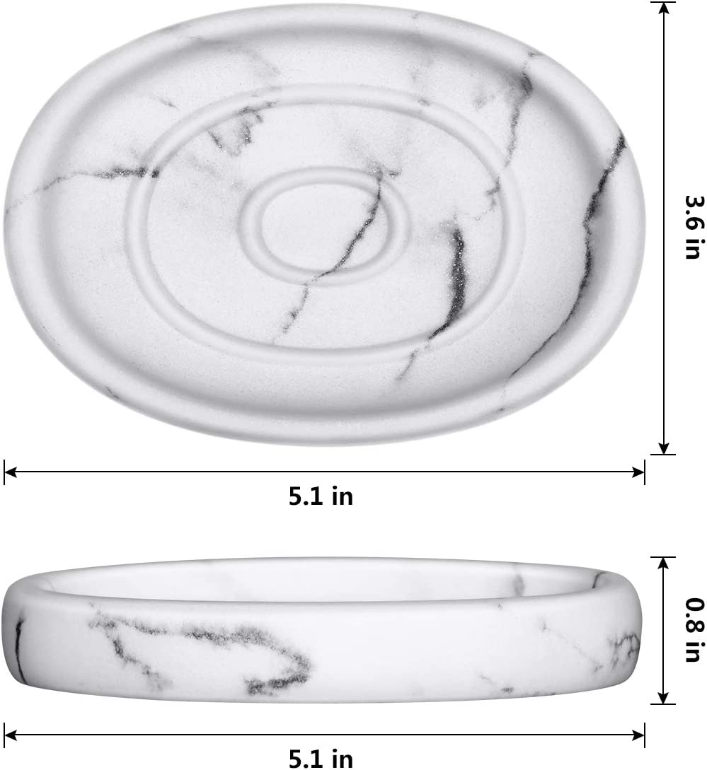 Soap Dish, Bar Soap Holder With Marble Effect, Soap Storage Case With Round Raised and Curved Edges
