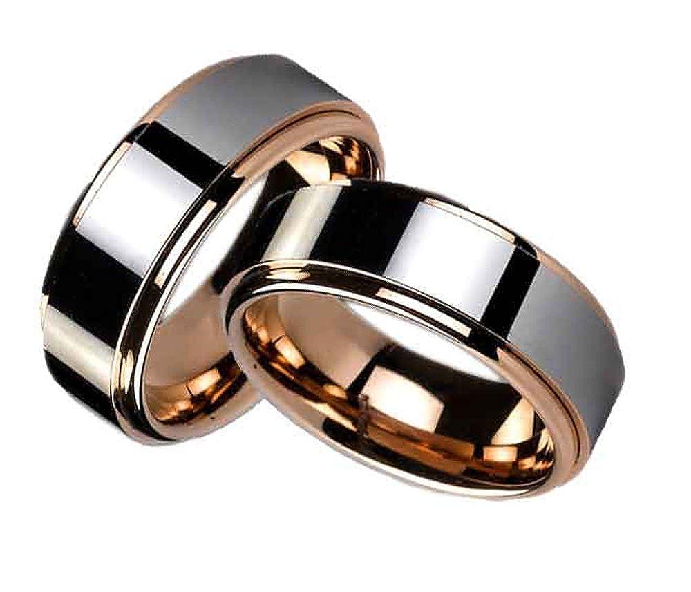 Anillos de compromiso, con grabado personalizable, de wolframio y diamante: Amazon.es: Joyería