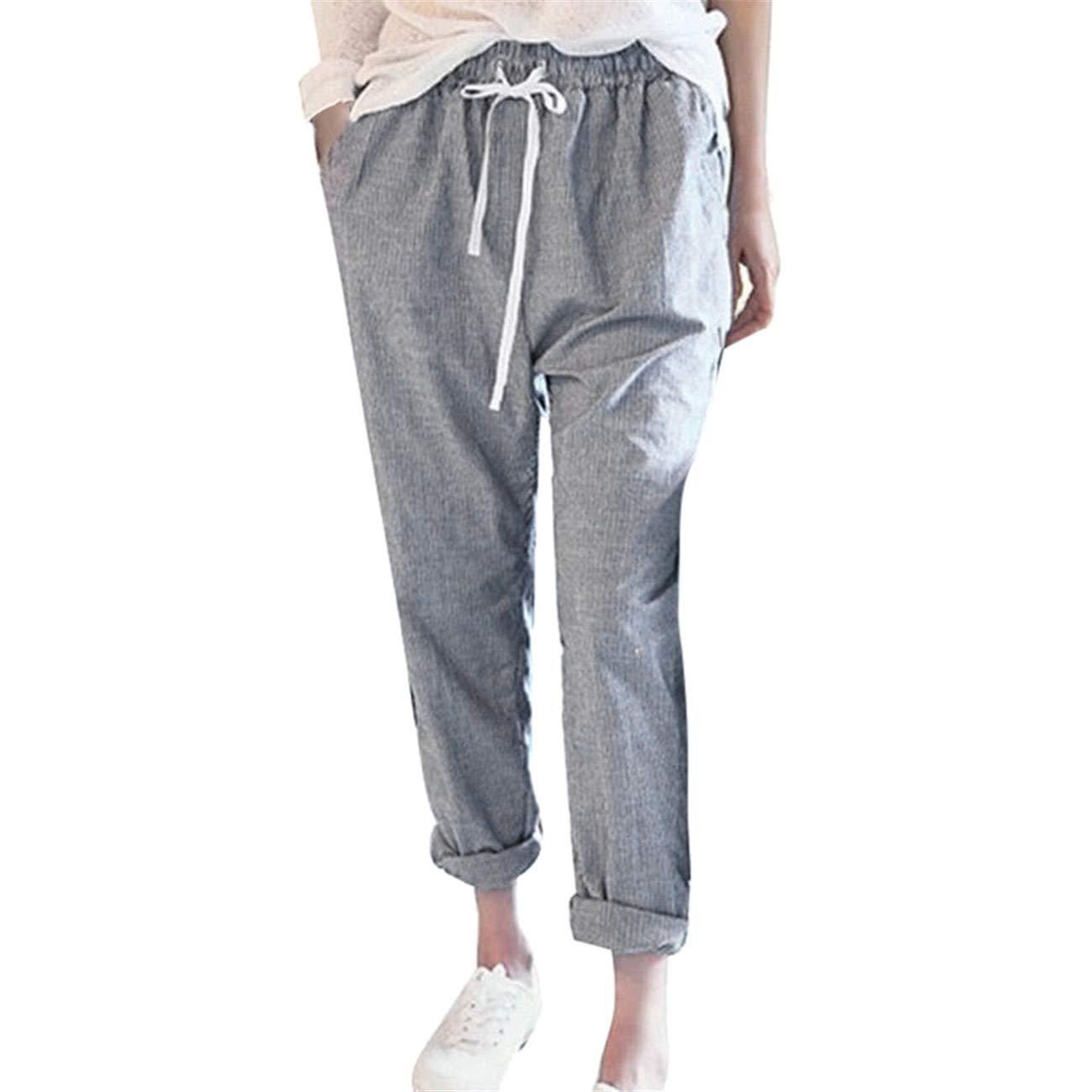 LHWY-Donna Estivi Alta Sottile Casual Elegante Lunghi Harem Elastico In Vita Elastica In Cotone E Pantaloni Larghi In Lino