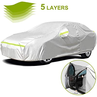 Favoto Full Car Cover Sedan Cover Universal Fit 177-194 Inch 5 Layer Heavy Duty Sun Protection Waterproof Dustproof Snowproof Windproof Scratch Resistant with Storage Bag Sedan Cover: Automotive