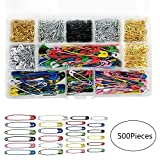 500Pcs Safety Pins, 7 Sizes Extra Large Small Assorted Size Metal Safety Pins Bulk Heavy Duty Set 19mm-50mm Durable Silver Gold Black Coated Colorful Safety Pins for Craft with Storage Box