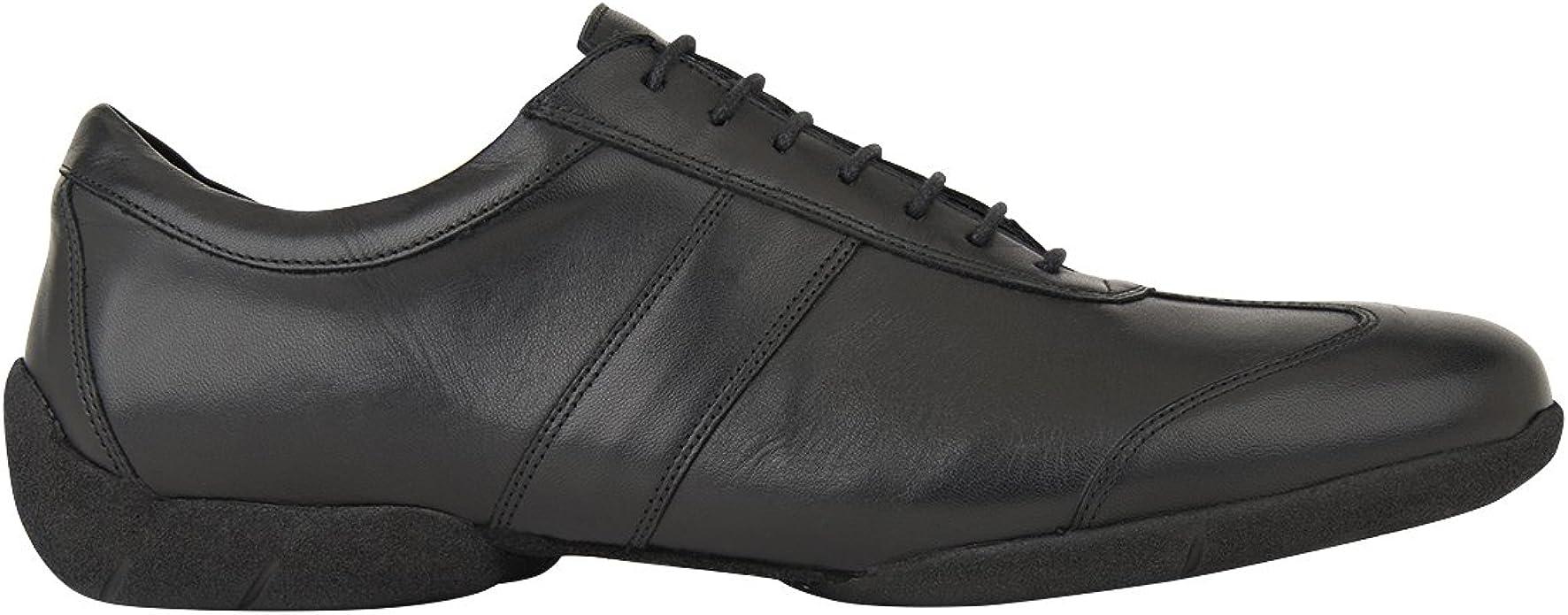 Rumpf Zapato Caballero 2130 Zapatos de Baile Cuero Salsa Rumba Tango Latino Sal/ón Est/ándar Foxtrot Escenario Teatro Profesional Tac/ón 2,5 cm Negro