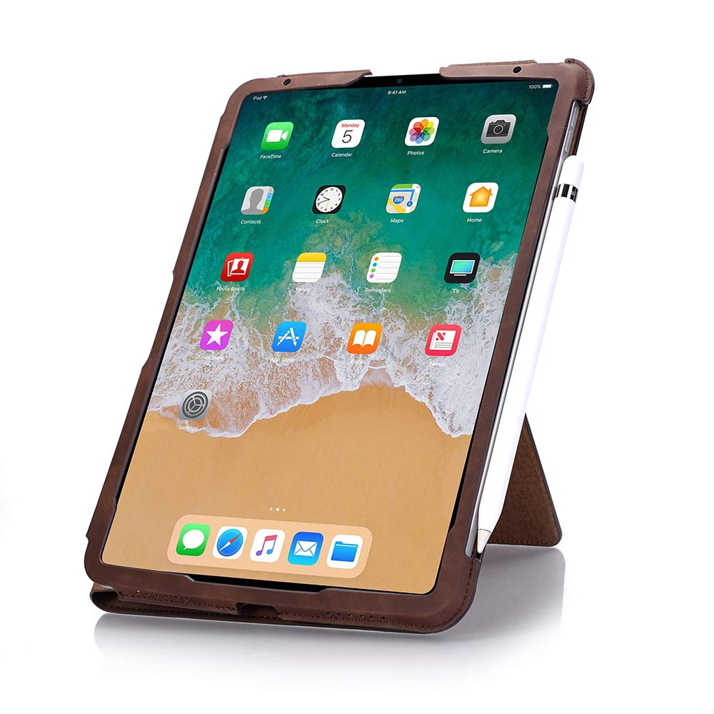 TechCode iPad Pro 11 inch Case 2018, Premium PU Leather Smart Stand Case Slim Fit Cover with Card Slots & Hand Strap(Support 2nd Gen iPad Pencil Charging) Sleeve for iPad Pro 11 inch 2018, Dark Brown by TechCode (Image #3)