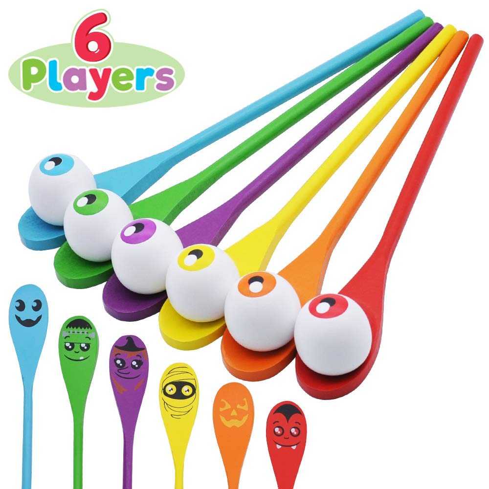 Halloween Egg and Spoon Race Game Set; 6 Eyeballs and Spoons with Assorted Colors for Kids and Adults Halloween Outdoor Fun Games, Party Favor Supplies, Classroom Activities by JOYIN