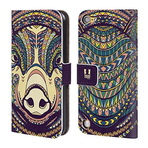 Head Case Designs Maiale Volti Di Animali Aztechi 2 Cover a portafoglio in pelle per iPod Touch 5th Gen / 6th Gen