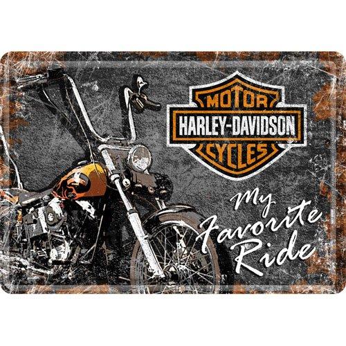 10x14 cm FRAIS OFFERT LICENCE HARLEY DAVIDSON PLAQUE METAL MOTO FAVORITE