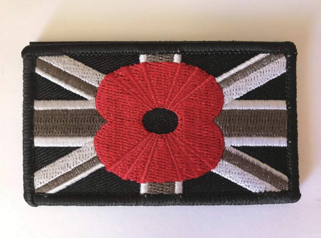 Black Union Jack Embroidered Poppy Patch velcro army military remembrance patch eddie