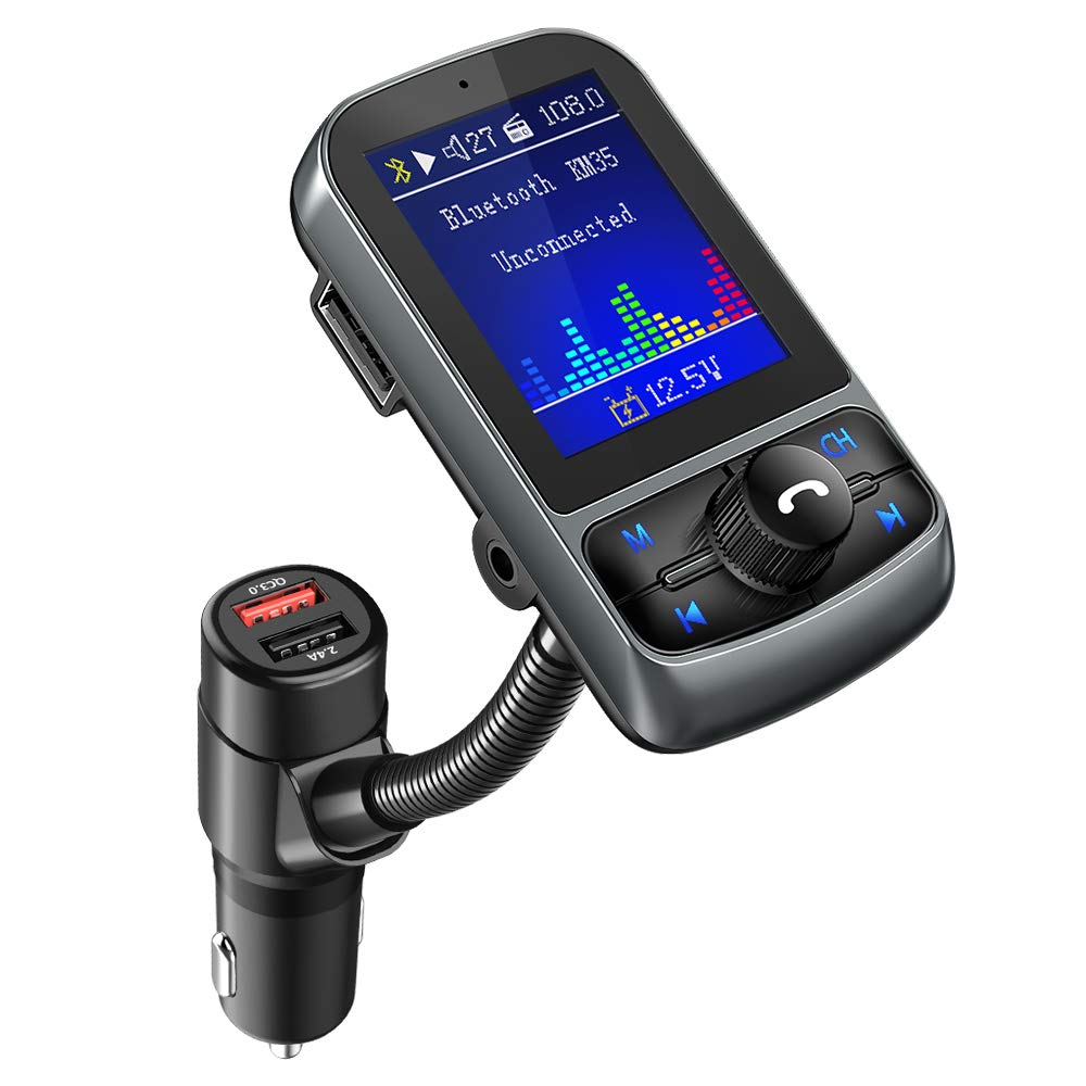 FM Transmitter, Nulaxy 1.8'' Color Screen Bluetooth FM Transmitter Radio Adapter with QC3.0 Quick Charge, Supports Car Battery Voltage Monitoring, Handsfree Calls, USB Flash Drive, microSD Card, AUX