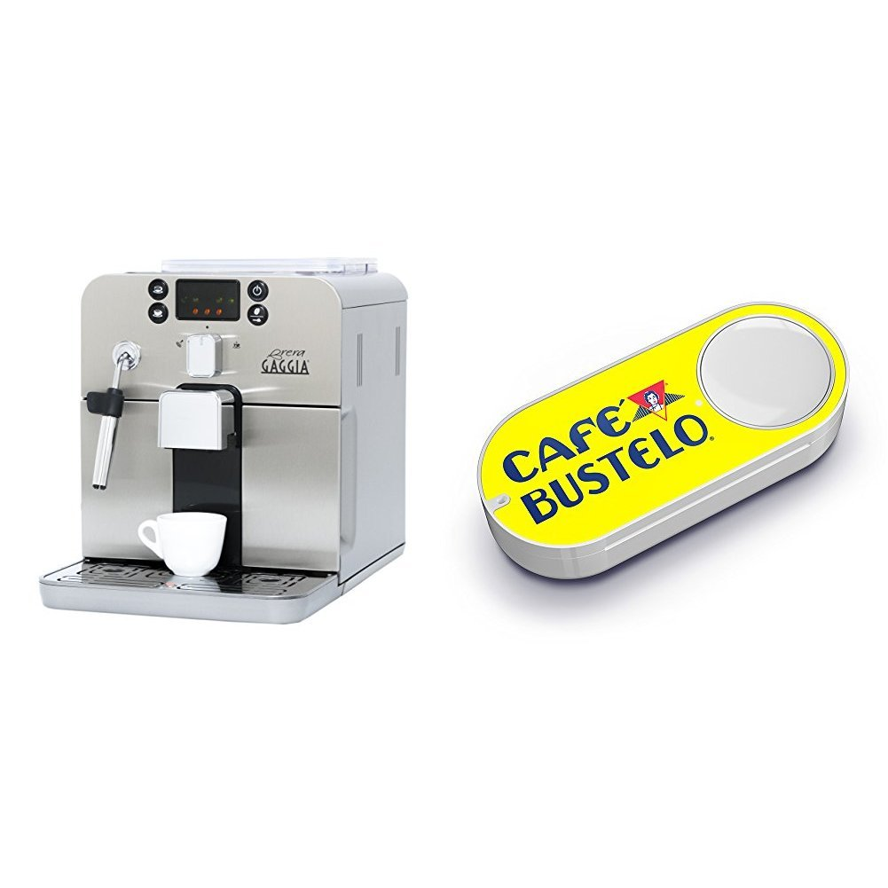 Gaggia Brera Super Automatic Espresso Machine in Silver & Cafe Bustelo Dash Button
