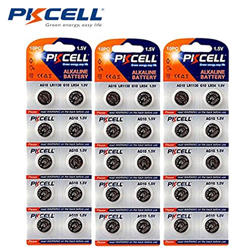 PKCELL Watch Battery Button Cell LR1130 L1131 389 390 AG10 Pack of 30 Batteries ()