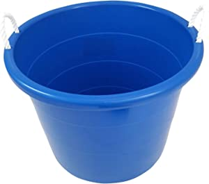 Homz 0402BLU 18 Gallon Plastic Utility Storage Container Bucket Tub with Rope Handles, Royal Blue