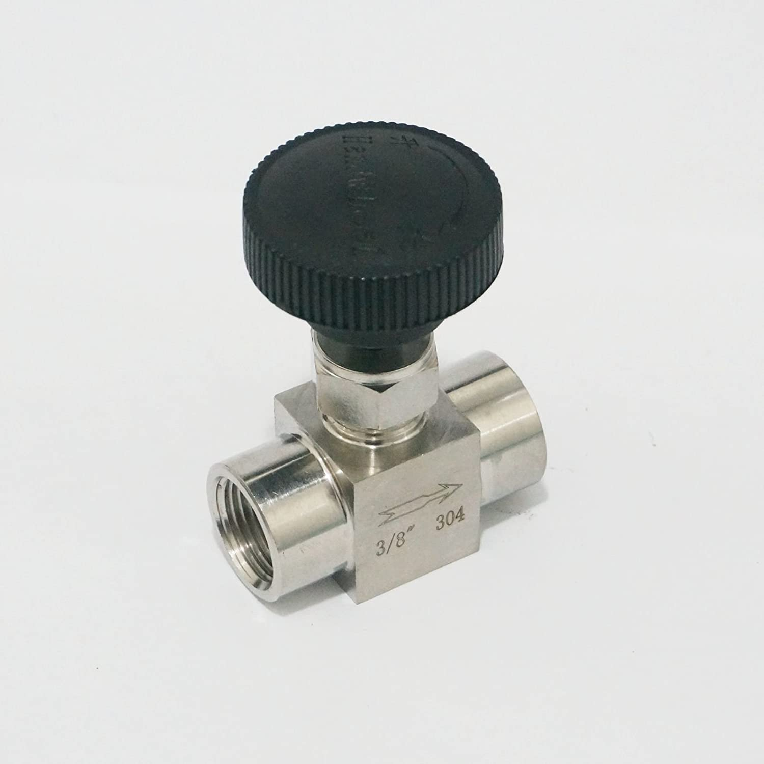 Sorekarain 3//8 BSP Equal female Thread 304 Stainless Steel shut off valve Needle Valve 915 PSI