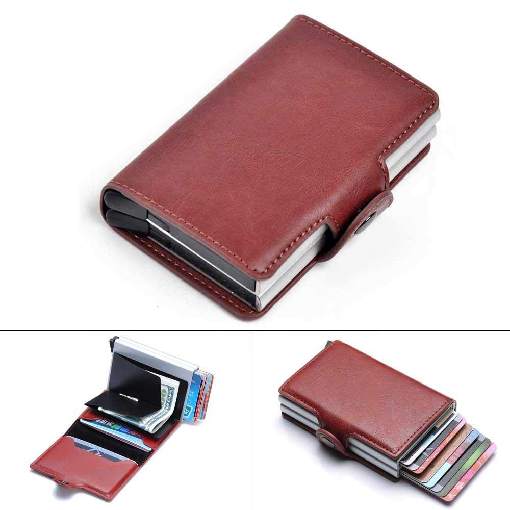 Aluminum Card Holder Wallet,LEEGOAL Double Layer RFID Credit Card Holder Slim Blocking Wallet Automatic Pop up 64027