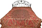Red and Black Reversible Jamawar Bedspread with Woven Flowers and Paisleys - Pure Cotton Wool