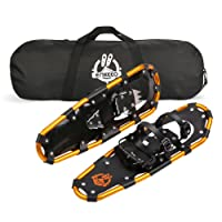 ENKEEO Light Weight Aluminum Alloy Terrain Snowshoes Kit with Carry Bag, Adjustable Retchet Bindings, Black and Orange