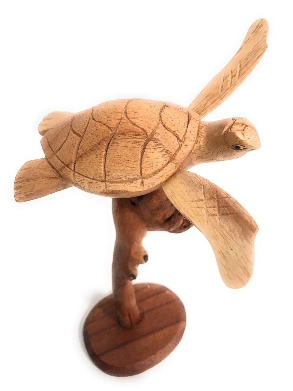 TikiMaster Swimming Sea Turtle w/Driftwood Base 9''H X 6''W - Carved | #non03
