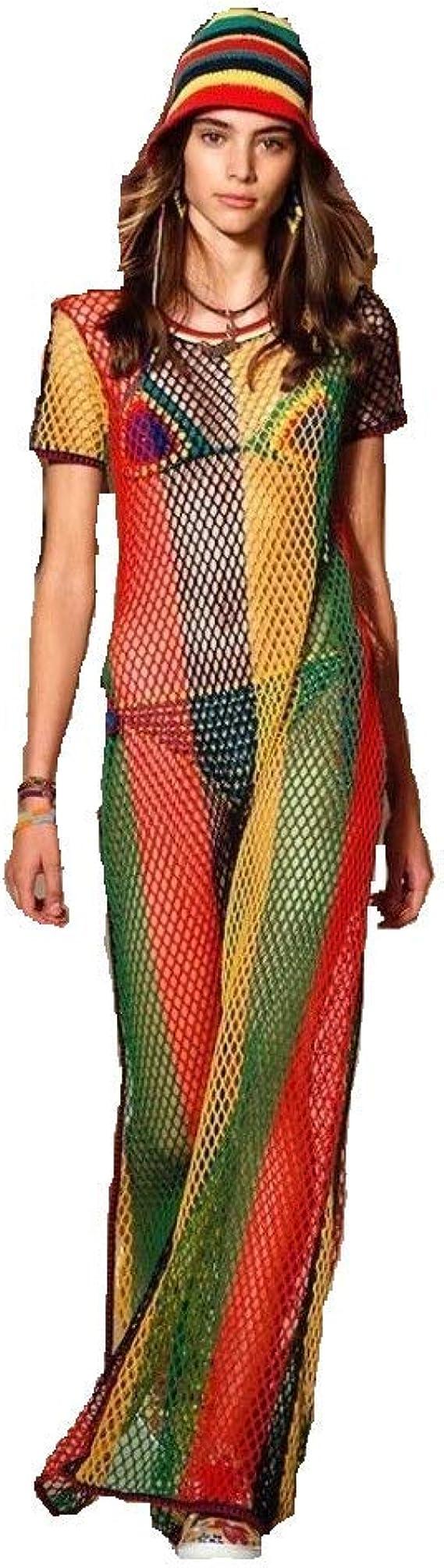Rasta Multicolored Rihanna Work Work Dress Side Slit Ladies String//mesh Maxi