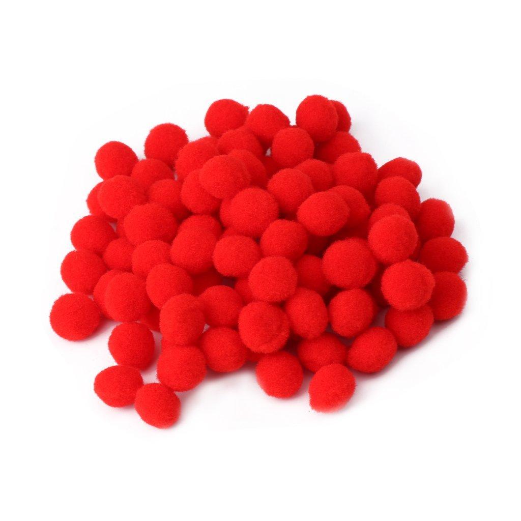 Mentin 100 Pcs Multi But Pom Poms Boules Rondes Artisanat Faire des Outils DIY Décorations Nouveau (Rouge)