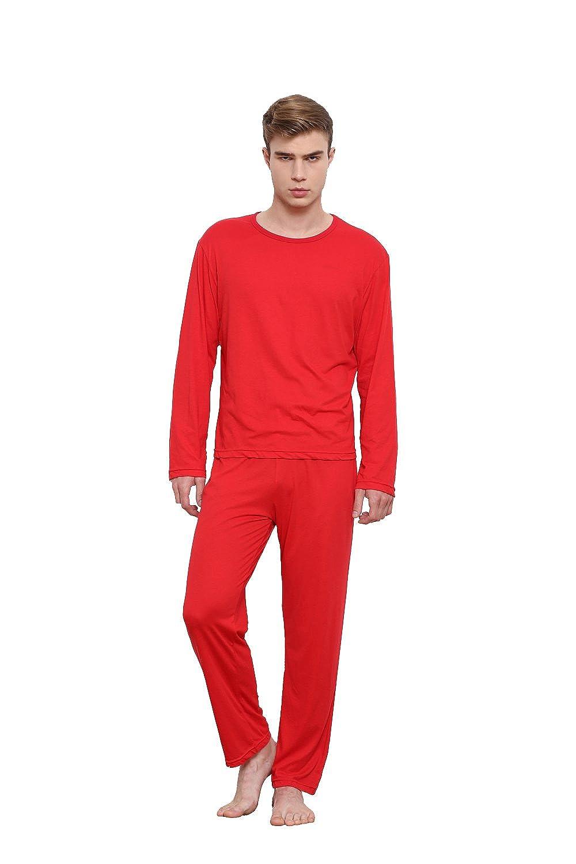 Godsen Men's Two Piece Thermal Underwear Set Top & Bottoms 8721602-Red