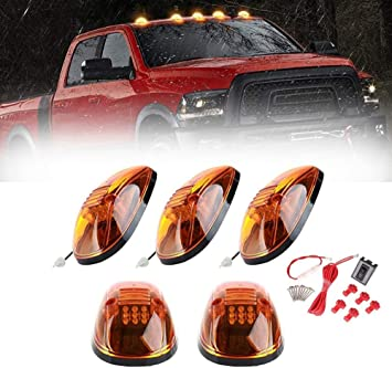 5PCS Amber Cab Roof Running Top Marker Lights 12 LED Smoke Clearance Lamp Assembly Wire Harness Replacement for Dodge Ram 1500 2500 3500 4500 5500 2003-2018 Pickup Trucks