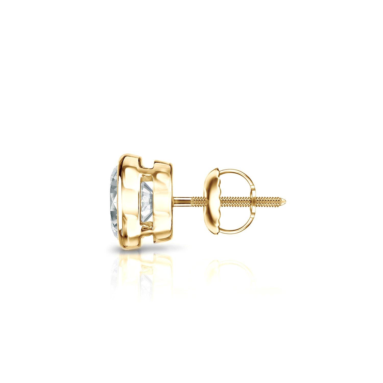1//8 to 1cttw, White, I1-I2 Diamond Wish 18k Yellow Gold Round Single Diamond Stud Earring Screw-Back Bezel-Set