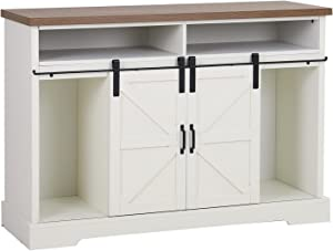 Sophia & William Farmhouse 52 Inch TV Stand with Sliding Barn Door and Metal Knob for 58 Inch TV, Accent Decorative Storage Cabinet Chest Furniture for Entryway Hallway Living Room, Ivory Painting