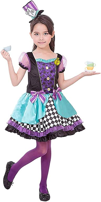 Amazon Com Purple Girls Mad Hatter Costume Child Kids Halloween Christmas Party Cosplay Suit With Hat Clothing