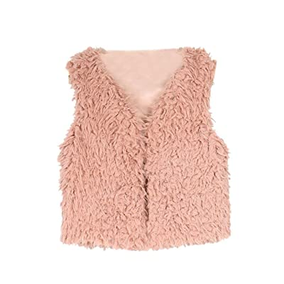Allywit Kid Baby Girl Autumn Winter Faux Fur Waistcoat Thick Coat Warm Outwear Clothes (6T, Pink)