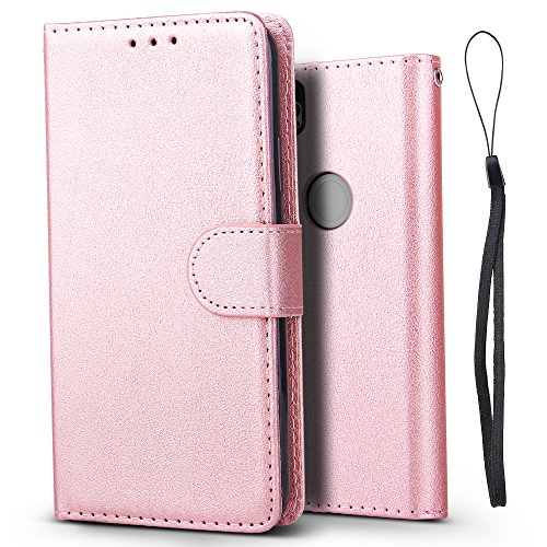 Google Pixel 2 Case Jgoo Premium Frosted Pu Leather Wallet Case  Foldable Stand     Card Holster  Soft Tpu Protective Shell Cover For Google Pixel 2 Case Rose Gold