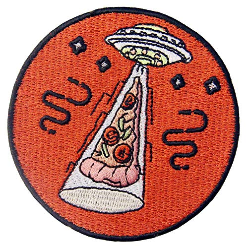 X Files UFO Pizza Patch Embroidered Badge Iron On Sew On Emblem