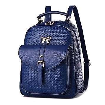 DEERWORD Para mujer Bolsos mochila Bolsos bandolera Carteras de mano Mochila escolar Bolsa para portátil Cuero Azul V2: Amazon.es: Equipaje