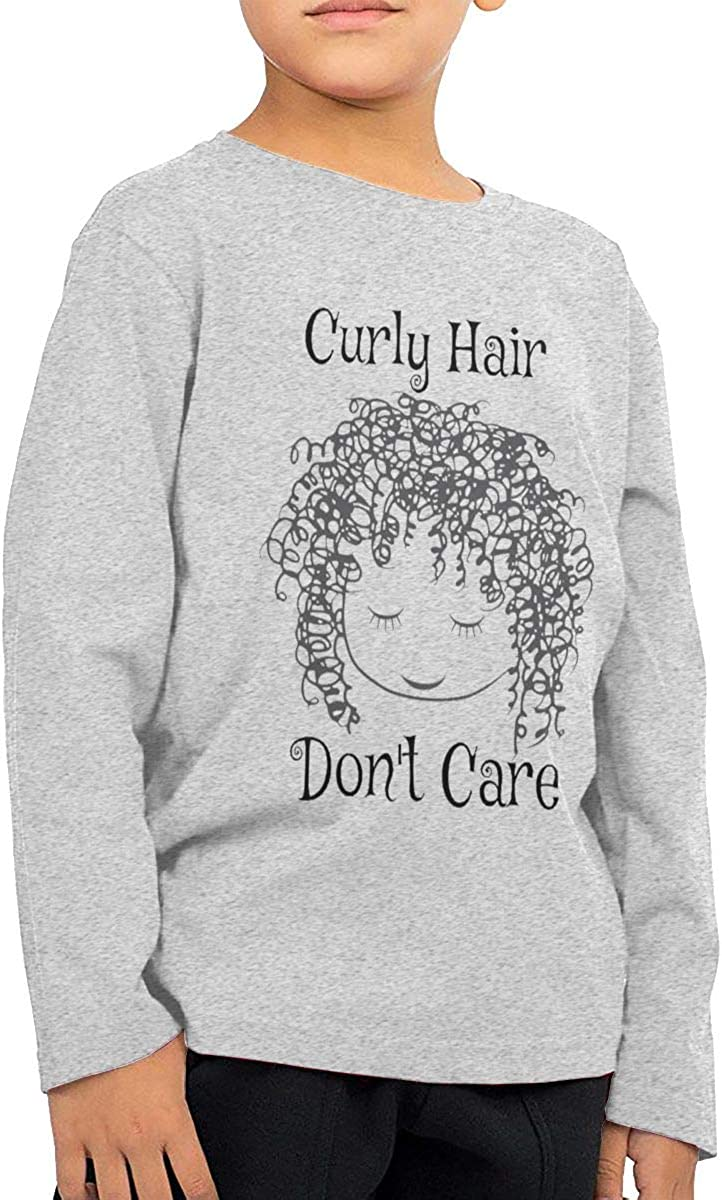 Iponvx Curly Hair Don't Care Unisex Boy's Girls Long Sleeve Crew Neck Cotton T-Shirts Top Tees for 2-6T Baby