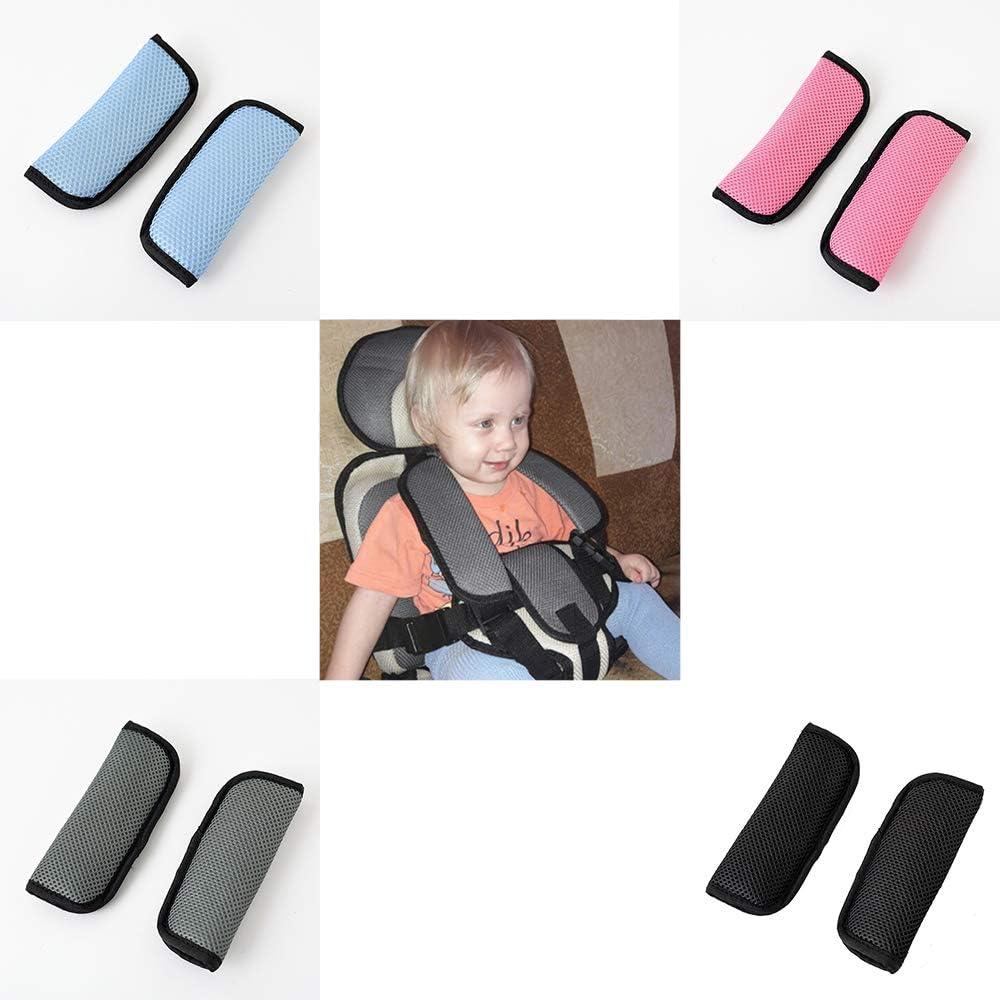 Seat Belt Shoulder Pad Two Packs Blue Black Gray Pink for seat belt strap A Must Have for All kids 2.5-3.8cm