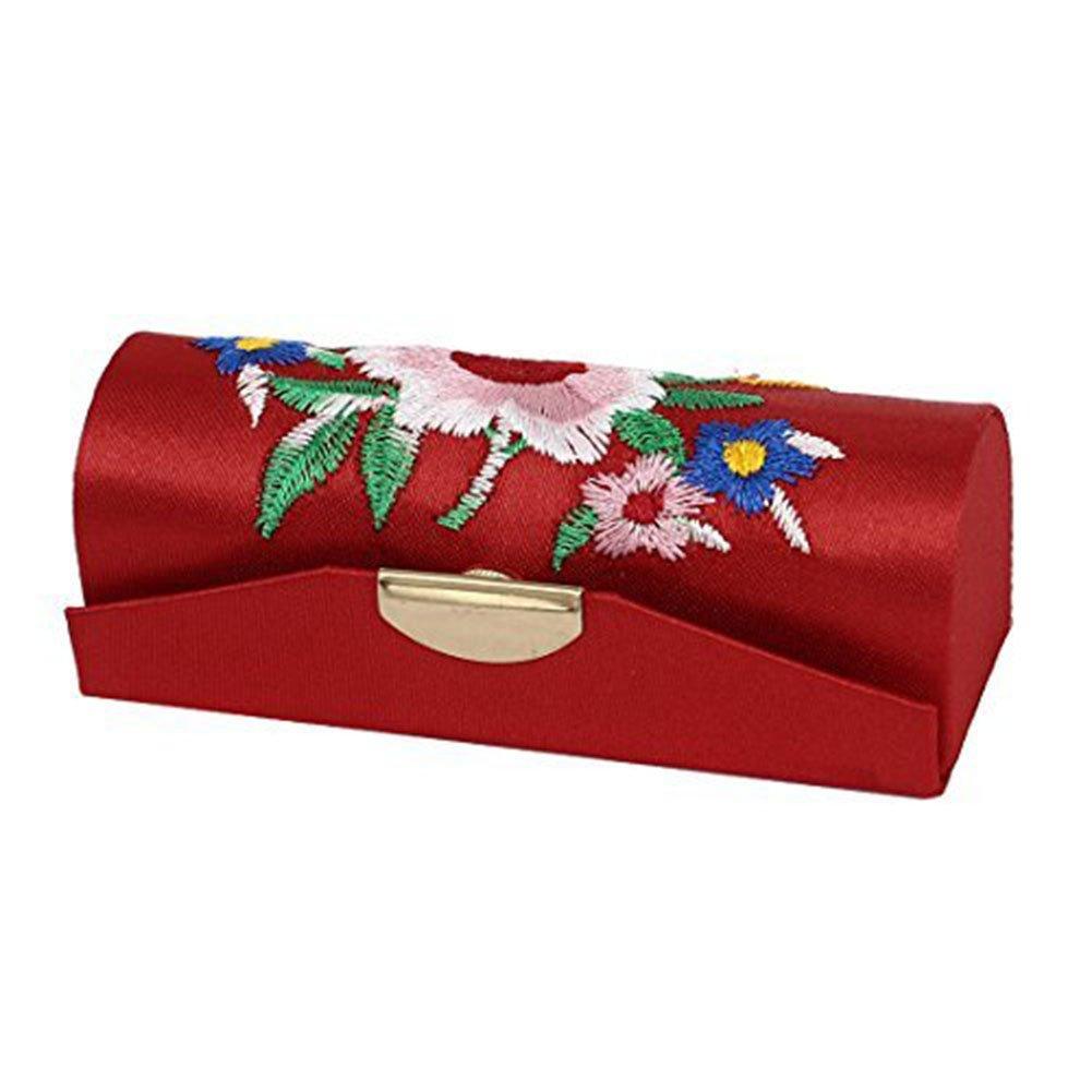 Lumanuby 1X Boîtier Multifonctions Trousses à Maquillage Boîte broderie modèle de Beauty case Boîte de rangement Maquillage Sac 8.5x3x3cm Rouge