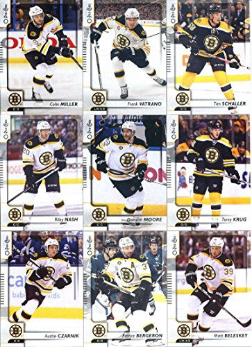 2017-18 O-Pee-Chee Hockey Boston Bruins Team Set of 18 Cards in a 4-Pocket Notebook: David Pastrnak(#44), Brandon Carlo(#60), Ryan Spooner(#83), David Krejci(#113), Drew Stafford(#123), Zdeno Chara(#154), Tuukka Rask(#181), Brad Marchand(#205), David Backes(#240), Austin Czarnik(#283), Patrice Bergeron(#317), Matt Beleskey(#333), Riley Nash(#356), Dominic Moore(#385), Torey Krug(#403), Colin Miller(#425), Tim Schaller(#447), Frank Vatrano(#489) Bruins Hockey Card