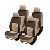 Hi Art Beige and Brown Jute Car Seat Covers for Maruti WagonR Stingray - Complete Set with Neck Rests