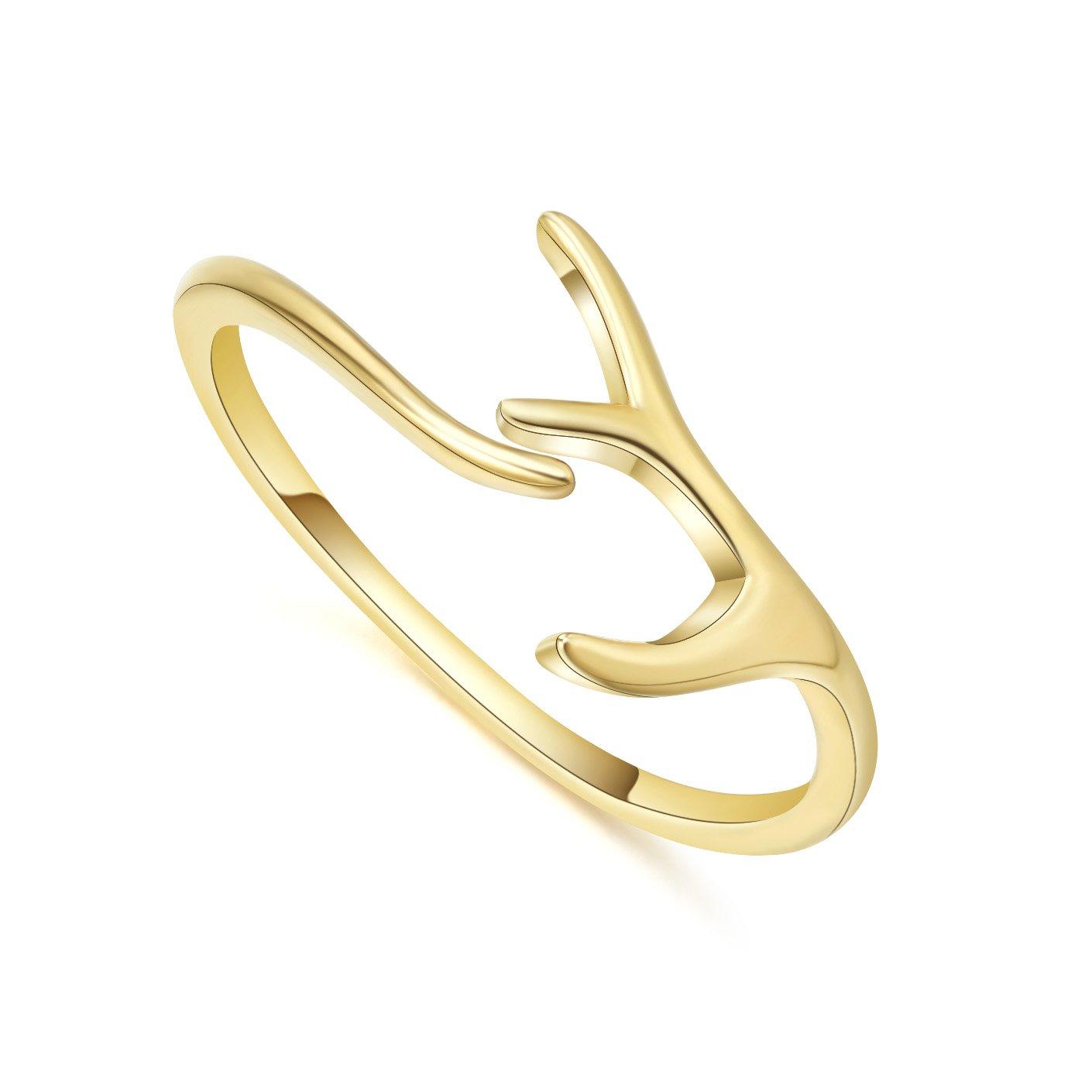 Bagutta Pavone Antler Open Ring, 925 Sterling Silver Gold Plated Adjustable Knuckle Deer Horn Ring