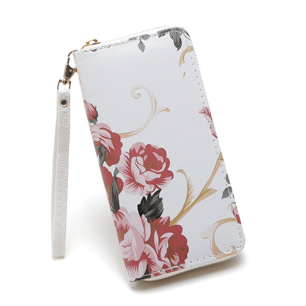 MaxFox Women Fashion Single Pull Rose Long Wallet Zipper Coin Purse Phone Bag Divider Organizer Storage Clutches (A)