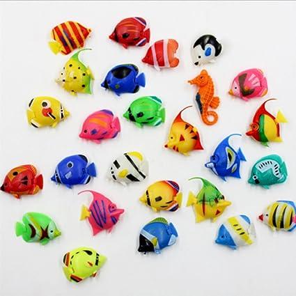 Mishiner 10 Piezas de plástico Artificial simulación Peces flotantes Falsos pecera pecera Ornamentos Accesorios decoración al