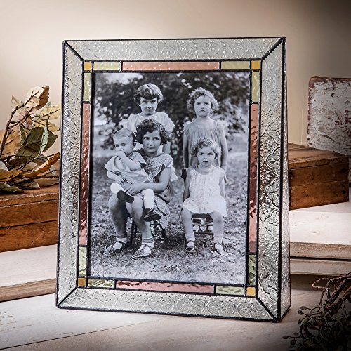 J Devlin Pic 137-81V 8x10 Stained Glass Picture Frame Vintage Photo Pale Purple Amber ()