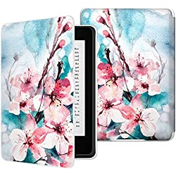 MoKo Case for Kindle Paperwhite, Premium Thinnest and Lightest PU Leather Cover with Auto Wake / Sleep for Amazon All-New Kindle Paperwhite (Fits 2012, 2013, 2015 and 2016 Versions), Peach Blossom